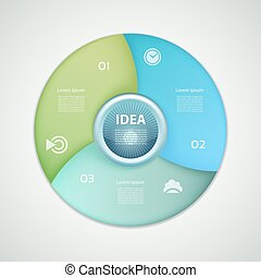 Vector infographic circle. Template for graph, cycling diagram, round chart, workflow layout, number options, web design. 3 steps, parts, options, stages business concept