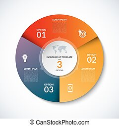 Vector infographic circle template with 3 steps, parts, options