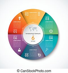 Vector infographic circle template with 6 steps, parts,...
