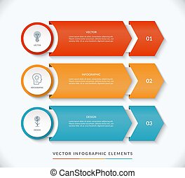 Vector infographic design template with 3 arrows pointing right. Can be used for web design, diagram, step options, chart, graph, business presentation.