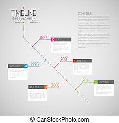 Vector Infographic diagonal timeline report template with icons