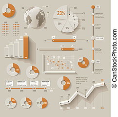 Set of the 3d charts, pie charts and other infographic design elements