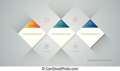 vector, infographic, etiket, mal, geometrisch, 3d, design.