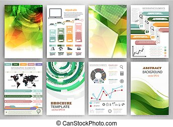 Vector infographic icons and green backgrounds.