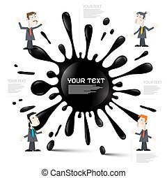 Vector Infographic Layout with Blot - Splash and Businessmen or Teachers on White Background