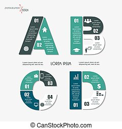 Vector infographic letters A, B, C, D. Set of template for font graph, diagram for  presentation and chart. Business concept with options, parts, steps or processes.