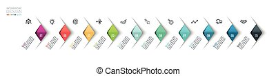 Vector Infographic overlapping arrows placed in horizontal row. with  10 options infographics for business concept.