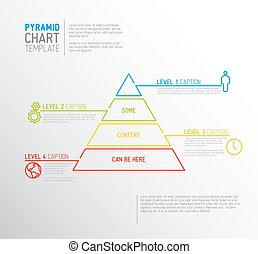 Vector Infographic Pyramid chart diagram template with icons, made by thin line