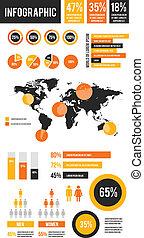 vector, infographic, set, communie