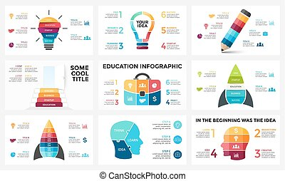 Vector infographic set, light bulb idea, education diagram, knowledge chart, startup rocket, travel bag, human head brain, learn study graph presentation, stairs open door. 3, 4, 5, 6 options, parts, steps, processes.