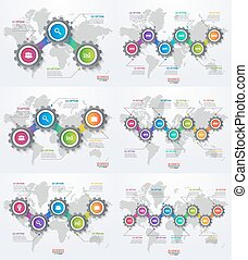 Vector infographic set of templates with gears and world map. Business and industry concept with options, parts, steps, processes.
