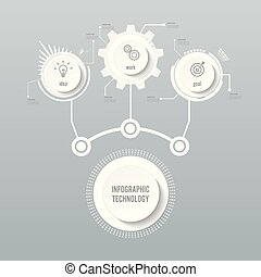 Vector infographic technology design template, integrated circles. Business concept with options. Vector illustration. Used for workflow layout, diagram, business step options, banner, web design.