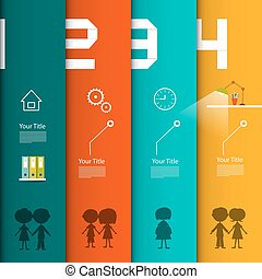 Vector Infographic Template. Four Steps Infographics with People and Icons.
