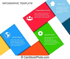 Vector Infographic Template with Color Paper Ribbons and place for your content