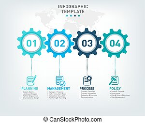 Vector infographic template with gears and world map