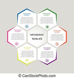 Vector infographic template with hexagons with text for your business project
