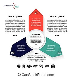 Vector infographic template with three arrows can be used for business presentation,  chart, web design, numbers options