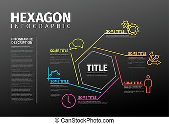 Vector Infographic report template made from lines and hexagon - dark version