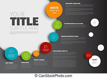 Vector Infographic timeline report template with circles and...