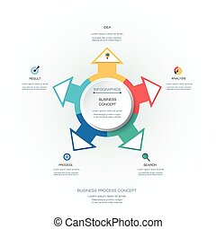 Vector infographics 3D circle label with arrows sign and 4 options