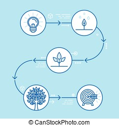 Vector infographics design elements and icons in linear style