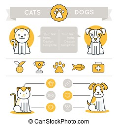 Vector infographics design elements, icons and badges - cats...