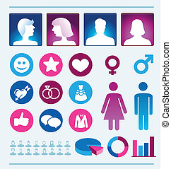 Vector infographics elements - man and woman - Vector...
