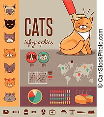 vector, infographics, gato, conjunto, iconos