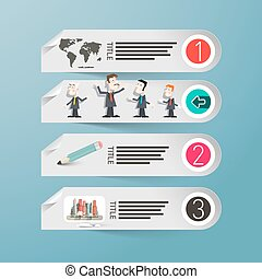 Vector Infographics. Paper Infographic Design with People, World Map and Computer.