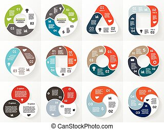 Vector infographics set. Collection of templates for cycle diagram, graph, presentation and round chart. Business concept with 3 and 4 options, parts, steps or processes.