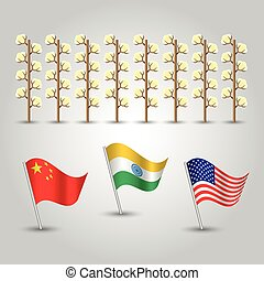 vector infographics - set of three flags of states with biggest production of cotton and several plants - countries united states of america, china and india