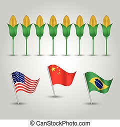 vector infographics - set of three flags of states with biggest production of maize and several corn cobs - countries united states of america, china and brazil