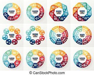 vector, infographics, set., verzameling, van, voorbeelden, voor, cyclus, diagram, grafiek, presentatie, en, ronde, chart., handel concept, met, 7, en, 8, opties, onderdelen, stappen, of, processes., abstract, achtergrond.