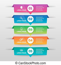 Vector infographics template with five options in material design style