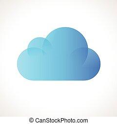 vector, informática, nube, icono