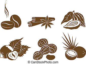 vector, ingredi, conjunto, postre, iconos