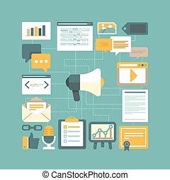 vector, inhoud, marketing, concept