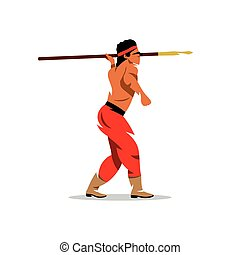 Vector Injun Cartoon Illustration. - Apaches Warrior holding...