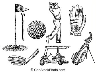 Vector ink hand drawn golf icon set