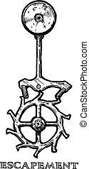 Vector ink hand drawn illustration of escapement. Part of clockwork. isolated on white.