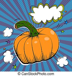 Vector ink hand drawn illustration of orange pumpkin