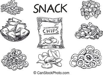 Vector ink hand drawn sketch style snack set