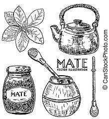 Vector ink hand drawn sketch style yerba mate tea set -...