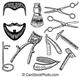 Vector ink hand drawn style barbershop set