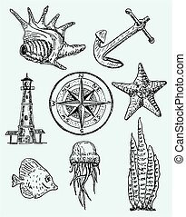 Vector ink hand drawn style marine set