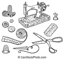 Vector ink hand drawn style sewing kit