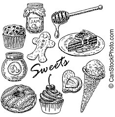 Vector ink hand drawn style sweets set