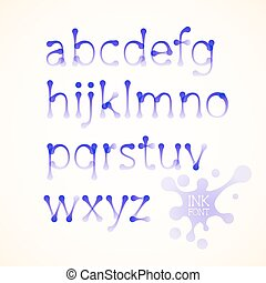 Vector ink lowercase alphabet - Vector ink drawn lowercase...