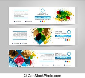 Vector Ink splash banner set. Concept geometric design