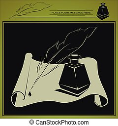 vector inkstand, pen and paper - vector illustration with ...